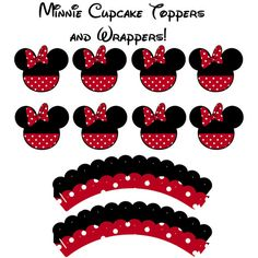 Instant Download Minnie Mouse Birthday Cupcake Toppers AND Cupcake Wrappers! printable DYI jpg cake Disney Mickey Minnie classic black red on Etsy, $6.00