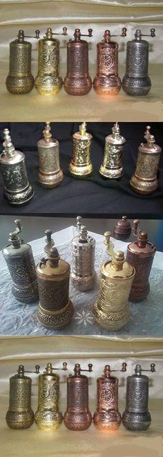 "5x 4""turkish Black Pepper Salt and Spice Grinder Mill-mat & Shiny Colors Set"