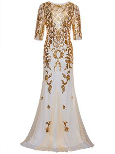 Vijiv Vintage 1920s Long Wedding Prom Dresses 2 3 Sleeve Sequin Party Evening  Gown at Amazon Women s Clothing store  9e3e4600d