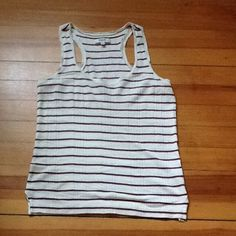 Madewell stripped tank Cream colored tank with navy and red strips.  Super soft!  Perfect for layering or wear solo with a pair of shorts!  So cute! Madewell Tops Tank Tops