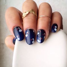 swan by nina_nailed_it #nail #nails #nailart