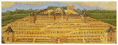 Château Neuf de Saint Germain en Laye, Claude Déruet, Détail, réalisé entre 1637 et 1642. le chateau fut construit sur la base d'un pavillon en 1557, dit Maison du Théâtre et de la Baignerie, qui doit son architecture initiale à Philibert Delorme d'après une requête d'Henri II. Après la mort d'Henri II, Philibert delorme est disgracié par François II en faveur des courants italiens et remplacé par le Primatice qui a suivi une continuité de son prédécesseur, travaux réalisés entre 1559 et…