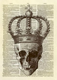 This print features our exclusive collage of a human skull wearing a royal crown. We have combined two antique illustrations to create a new and fun piece of art. Fun as a Halloween decoration, but it