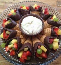 Chocolate Dipped Fruit Cones...