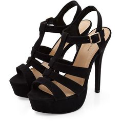 Black Chunky Caged Platform Heels ($38) ❤ liked on Polyvore featuring shoes, sandals, heels, zapatos, black, strappy sandals, black platform sandals, high heel shoes, high heel sandals and heeled sandals