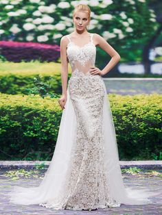 Tbdress.com offers high quality Spaghetti Straps Lace Backless Mermaid Wedding Dress Latest Wedding Dresses unit price of $ 171.94.