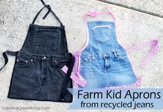 How to make adorable kid aprons for boys or girls from old jeans - perfect Christmas gift idea!