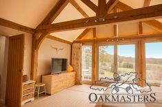 Double storey oak framed extension adds character and space to a renovated country house House, Home, Oak Framed Extensions, New Homes, Rear Extension, Chic Bedroom, Room Divider, Oak, Rustic Bedroom