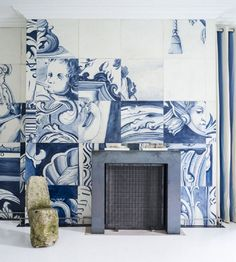 :: Havens South Designs :: loves these oversized Delft tile like panels in a design by Antonio Martins