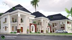 Proposed development in Abuja, Nigeria. A twin 3 bedroom duplex and a block of flats. Flat House Design, Duplex House Design, Duplex House Plans, House Front Design, Bedroom House Plans, Dream Home Design, Modern House Design, African House, Mansion Designs