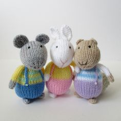 Ravelry: Fluffy, Sniffles and Squeaker by Amanda Berry