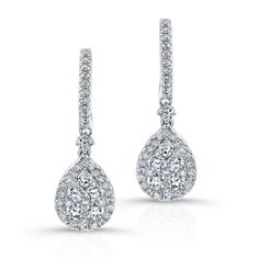 18K WHITE GOLD CONTEMPORARY TEAR DROP CLUSTER DIAMOND EARRINGS COMPLEMENTED WITH ROUND WHITE DIAMONDS, FEATURES 1.47 CARAT TOTAL WEIGHT