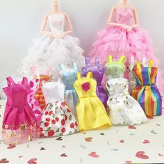 Fashion 5 stks/partij sorteert handgemaakte party kleding jurk voor barbie pop beste toys