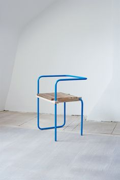 From Spanish craft designer Tomás Alonso: a series of colorful chairs made from a single bent, powder-coated metal tube twisted around a piece of soli Design Furniture, Chair Design, Cool Furniture, Modern Furniture, Futuristic Furniture, Plywood Furniture, Teen Furniture, Decoupage Furniture, Antique Furniture