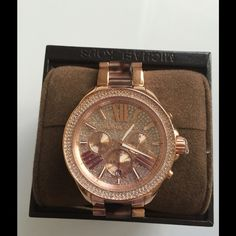 MK Chronograph date crystal pave Watch Beautiful Wren Tortoise Rose Gold Crystal pave Watch New in box with tag $395 Michael Kors Accessories Watches