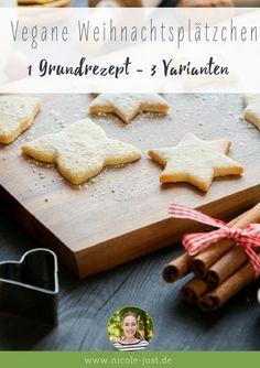 Hier stelle ich Dir mein Rezept für schnelle vegane Weihnachtsplätzchen vor. Neben dem Grundrezept findest Du 3 Plätzchenvarianten, die Du ganz einfach aus dem Mürbeteig abwandeln kannst: Vegane Plätzchen mit Zitronenglasur, Doppeldecker mit Marmelade und Nussplätzchen - Viel Spaß beim Plätzchen-Backen ohne Ei und Milch!