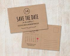 This rustic wedding Save the Date incorporates hand drawn typefaces and vintage laurels. Can be customized to suit any event or color theme.