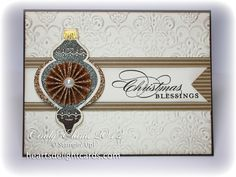 "~~Heart's Delight Cards~~  **** SU 'Ornament Keepsakes"" images, ""Holiday Ornaments"" Framelit Dies & the ""Lacy Brocade"" Textured Impressions Embossing Folder, 2012 Holiday Mini."