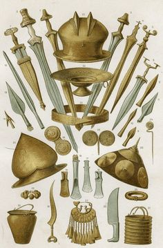 panoply of weapons and tools belonging to Celtic culture of Hallstatt Celtic Sword, Age Of Mythology, Old Warrior, Ancient Armor, Celtic Warriors, Celtic Culture, Early Middle Ages, Dnd Art, Iron Age