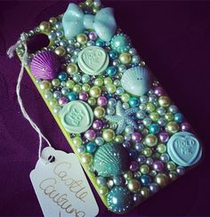 Blue, green and lilac themed custom decoden iphone 4 case
