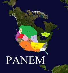 Panem. A map of the districts