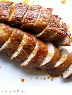 Honey Butter Pork Tenderloin~ This is moist and Delish..and easy! tastes like you slaved away...I use my cast iron skillet , starting on stovetop, then transferring to oven. if you don't have one, heaven forbid, use a pan that ill go from stove to oven. Try this!                                    bakingwithblondie.blogspot.com