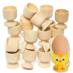 Wooden Egg Cup for Kids to Paint, Decorate & Personalise for Easter (Pack f 6) | Children's Crafts | Crafts - Zeppy.io