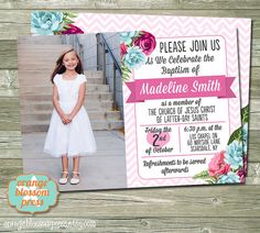 Check out our lds baptism invitation selection for the very best in unique or custom, handmade pieces from our shops. Baptism Invitations, Invites, Floral Banners, Orange Blossom, Lds, Floral Watercolor, Chevron, Announcement, Celebrities