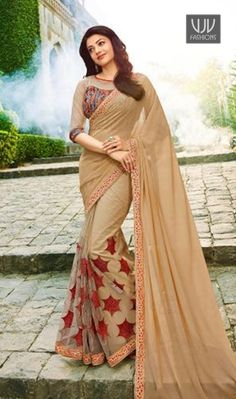 Kajal Agarwal Beige Color Designer Saree Fashion and style always depends on good color and fantastic combination of shades and so we create best shades to enhance your beauty and personality. Superb craftmanship of embellishments exhibited in this beige color georgette designer saree.
