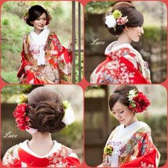 Before taking hair and accessories for kimono - 前撮り - Wedding Party Hair, Bridal Hair, Dress Hairstyles, Bride Hairstyles, Japanese Wedding Kimono, Japanese Kimono, Wedding Headdress, Hair Arrange, Hair Setting