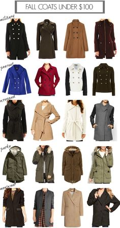 Peacoats and wrapped coats under $100