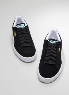 Suede Classic Sneaker - Black-White - Shoes - Women's | Peppermayo