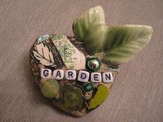 Garden mosaic brooch, mosaic art.