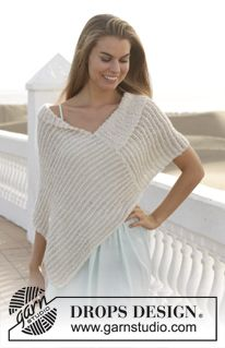 """Knitted DROPS poncho in garter st with stripes in """"Alpaca Bouclé"""" and """"Cotton Viscose""""."""