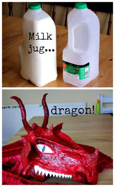 milk jug dragon mask for Halloween - step by step tutorial- Alako's requested costume Halloween Masks, Holidays Halloween, Costume Halloween, Halloween Crafts, Halloween Decorations, Library Decorations, Halloween Tricks, Halloween Makeup, Halloween Ideas