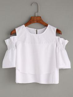 Blusa hombros al aire de volantes -blanco-Spanish SheIn(Sheinside)