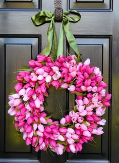 Spring Wreaths for Front Door | Tulip Wreath Front Door Wreath Spring Tulips by ... | Door Decor
