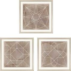 Geometric III Framed Wall Art Set of 3 - 18 x 18, 1819 * On Sale, Stunning Paragon Wall Art at FineHomeLamps.com* Free Shipping, No Tax * Visit Today!