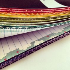 Washi tape on pages in diary