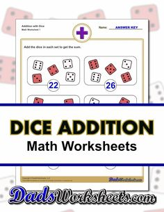These printable dice addition worksheets are fun practice for 1st and 2nd grade students learning their addition facts. PDF files with answer keys, no registration or signup. Many more resources ready to print on the site!