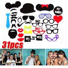 31-Tlg-Hochzeit-Party-Foto-Verkleidung-Schnurrbart-Brille-Photo-Booth-Props-Set