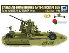 The Bronco Canadian 40mm Bofors Anti-Aircraft Gun in 1/35 scale from the plastic gun model range accurately recreates the real life anti aircraft gun used by Canadian forces during World War II. This plastic gun kit requires paint and glue to complete.