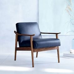 Midcentury Show Wood Leather Chair, Nero/Pecan At West Elm - Living Room Chairs - Lounge Chairs - Accent Chairs