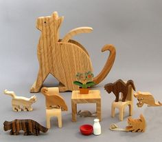 Kitten Caboodle Wooden Toy for Catlovers Waldorf by ArksAndAnimals, $69.75