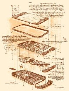 The iSteamPhone Steampunks Your Favorite Touchscreen  Published: May 17, 11 References: isteamphone	 and omgposters  Da Vinci is legendary for his personal notebook of sketches of crazy contraptions, and it seems Kevin Tong's iSteamPhone sketch is bringing that mythic aesthetic to modern gadgets. Seen here is Tong's vision of how Da Vinci would have drawn the Apple iPhone, complete with notes, components, descriptions and even faded looking paper.