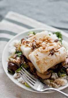 Turbot with Mushrooms, Ginger, & Soy Broth | bloggingoverthyme.com