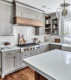 Kitchen Cabinets Trim, Kitchen Cabinet Design, Kitchen Redo, Maple Kitchen, Kitchen Ideas, Gray Cabinets, Kitchen Corner, Kitchen White, Kitchen Layout