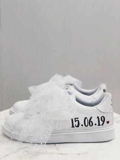 """Sneakers """"Name"""" Femme – Meryl Suissa - Sneakers """"Name"""" Femme – Meryl Suissa - Wedding Sneakers, Wedding Heels, Boho Wedding, Wedding Bride, Wedding Simple, Vintage Heels, Just Married, Adidas Stan Smith, Shoes"""