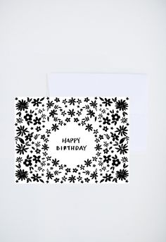 Birthday Greetings - Happy Birthday - Simple Black and White Floral  - Painted & Hand Lettered Cards - A-2 by ShannonKirsten on Etsy