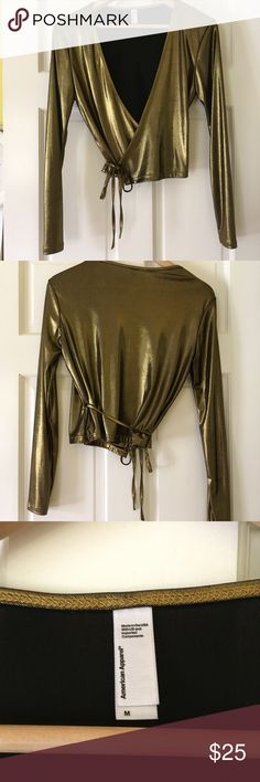 American Apparel gold wrap top Worn once! No stains or tears, good for every day wear, going out or costumes. Feel free to ask any questions in the comments! Open to trade with similar AA gold dress Tops